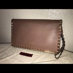 Authentic Valentino rock stud clutch wristlet bag